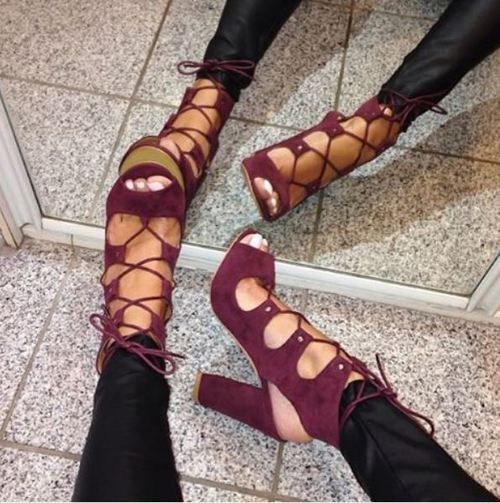 The strappy shoe trend continues this fall! Try a pair in burgundy.