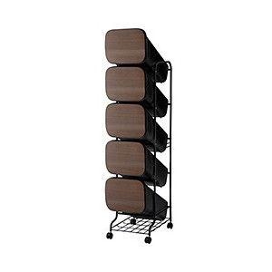 スムース(smooth)スタンドダストボックス5P ウッド GBBH014【th】 スムースな使い心地を体感できるスタイリッシュなゴミ箱。