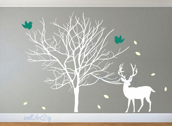 Tree Wall Decals Large Birch Tree Wall Mural Tree And Birds Wall Sticker  Giant Tree Wall Stencil Nursery Tree Wall Part 35