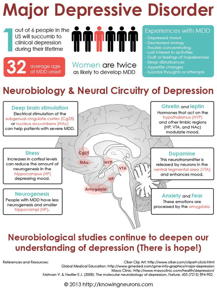 This infographic explores the neurological basis of major depressive disorder.
