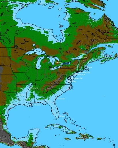 Global Warming Map of North America, with 100 meter sea level rise. At that level, Louisiana,Florida,The Mississippi Delta and most of the Atlantic seaboard would be underwater.