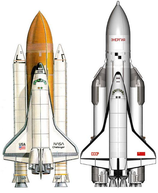 American Shuttle Transport System (STS) and the Soviet Energiya-Zenit combination with Buran.