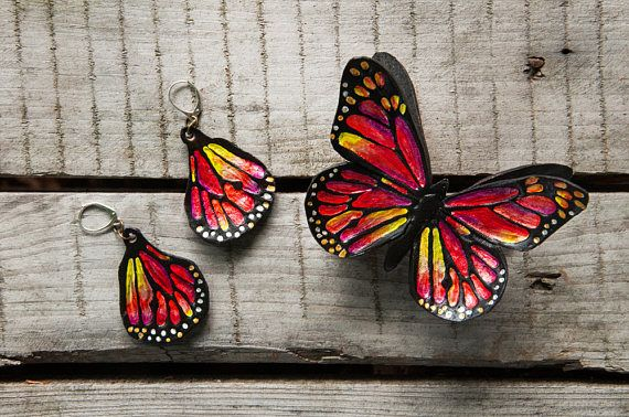 leather jewelry MONARCH BUTTERFLY BRACELET and earrings set summer beach jewelry little black dress elegant vibrant colors young woman wrist