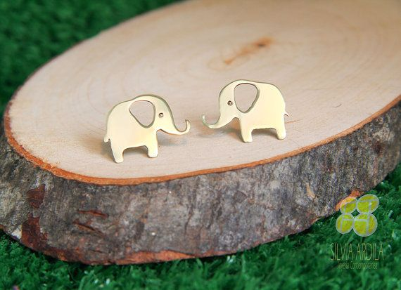 AN03 Elephant Goldplated brass Post Earrings. Studs. Handmade by Silvia Ardila on Etsy, $18.50