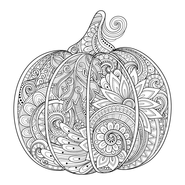 Free coloring page coloring-halloween-pumpkin-zentangle-source-123rf-irinarivoruchko. Zentangle Halloween Pumpkin, by Irina Riboruchko (123rf.com)