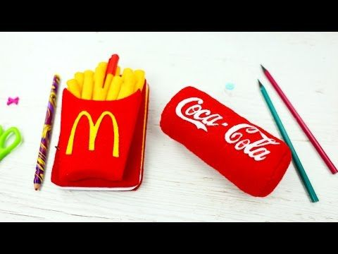 Let's make today funny DIY desk accessories that will perfectly help to change your workplace. A cool French fry felt notebook and  a soft Coca-Cola shaped stress ball desk organizer will create a cozy atmosphere to cheer you up! #notebook #frenchfry #deskaccessories