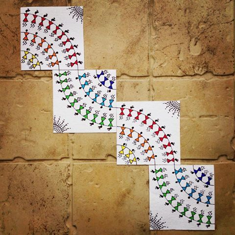 Colourful Warli Wall Art.