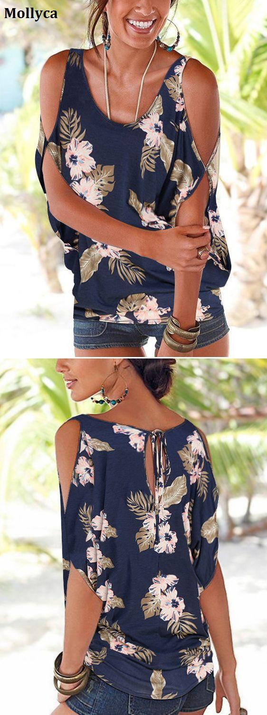 $17.56 USD Sale!Shop Now!Navy Random Floral Print Cold Shoulder Tie-up at Back Tshirts.#mollyca#fashion#tops
