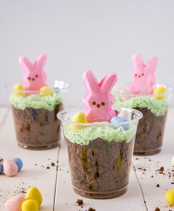 Bunny dirt cups. I would LOVE to do this for a fun Friday activity before Easter! How cute!