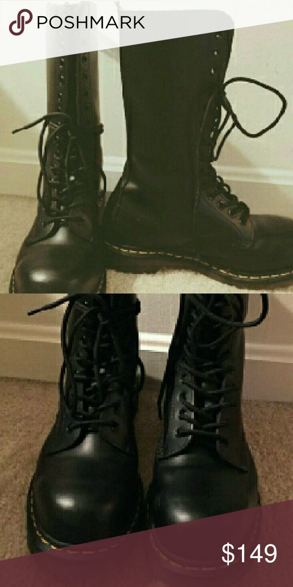 Dr  Martens  Steel Toe Black 14 eye (hole) Steel Toe  7 UK 9 US W  8 US M Almost new only try it on twice on carpet Dr. Martens Shoes Combat & Moto Boots