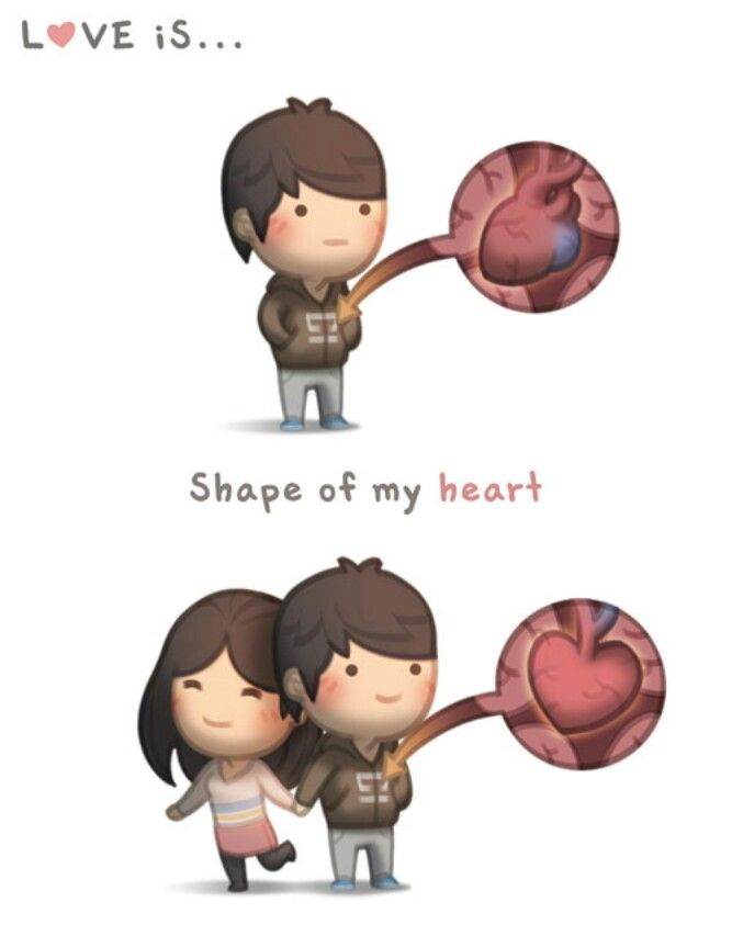 Love is... shape of my heart.