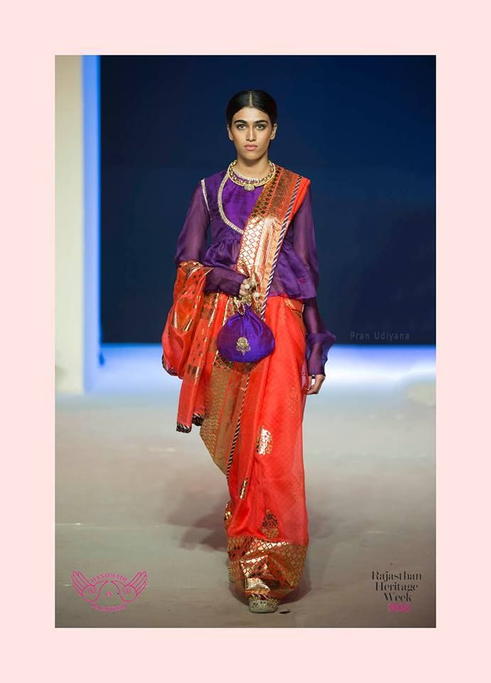 Mharo Des Collection - The drop down gorgeous red kota with a foil print with a deadly combination of purple. Can you resist it?  Designer: Vidhi Singhania