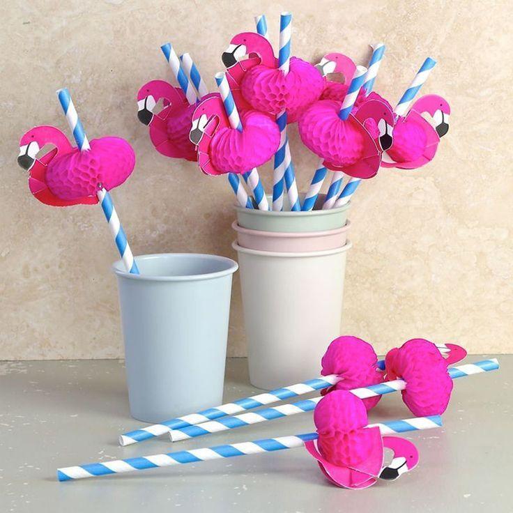 Flamingo Wedding Party Drinking Straws Hawaiian Party Luau Accessories Tool New