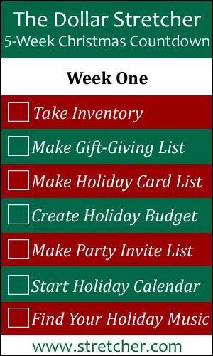 5 Week Christmas Countdown Calendar: Week One - Preparation