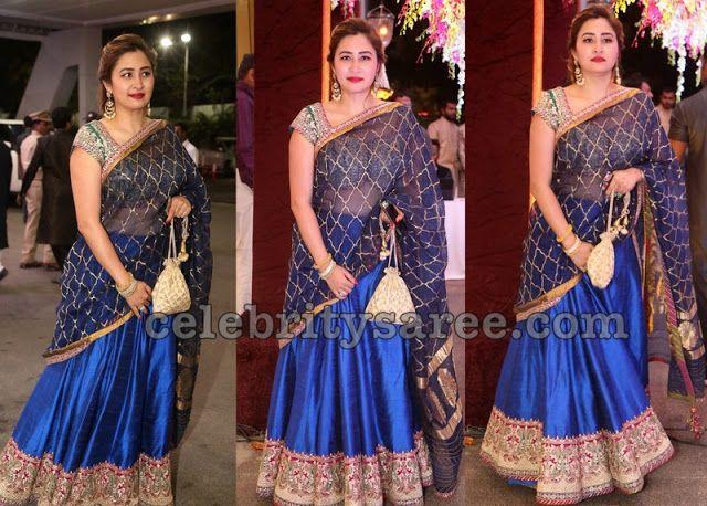 Jwala Gutta in Blue Half Saree