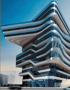 """Neofuturistic Architecture projects of the designer are distinctively , characterised by the """"powerful, curving forms of her elongated structures""""with """"multiple perspective points and fragmented geometry to evoke the chaos of modern life""""."""