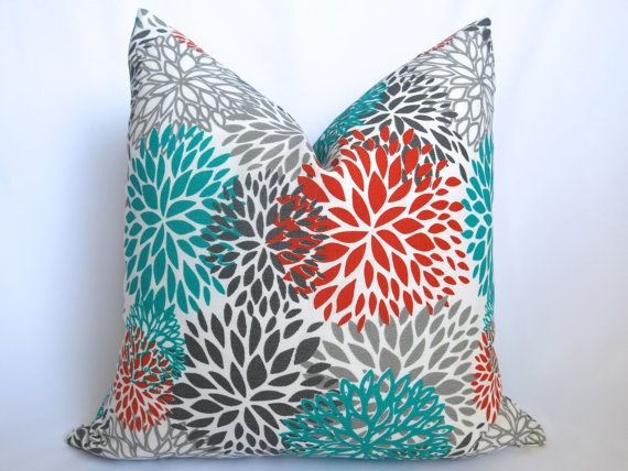 Outdoor Blooms Decorative Pillow   Turquoise   Coral   Gray   16 Inch    Floral Pillow