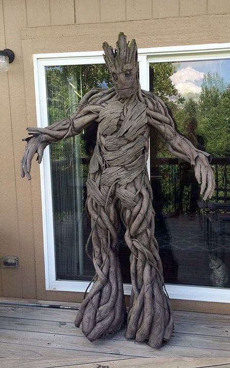 Guardians of the Galaxy Costume Wonderful costume made by Calen Hoffman will transform you into a tree-like creature from Marvel's Guardians of the Galaxy.      Groot's body was created out of pipe insulation foam. Texture is kleenex soaked in glue / water and painted with spray cans / acrylics.      Total cost of materials is less than $100.