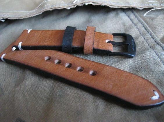 Hand made custom leather watch strap. 'Inspiration' by Steveostraps.com