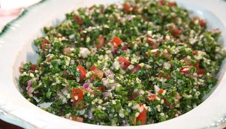 Tabbouleh - completely changes the usual starchy coucous to a low-carb very tasty dish!  Add 1/4c boiling water + 1/2t salt to 25g bulgur/ couscous. Stand and fluff.  Cut very finely: 1 bunch washed parsley + small bunch fresh mint leaves +1 small red onion.  Dice in 4 jam tomatoes. Mix with bulgur. Make drizzle from 2-3 T freshly squeezed lemon juice + 2-3 T olive oil. Serve with coarse salt and flatbread.