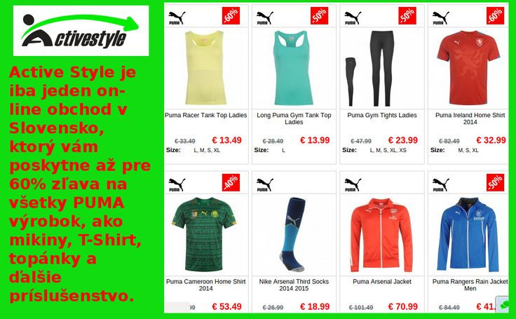 Kúpte širokú škálu Puma tričká pre mužov a ženy , on - line v Solvanko . Vyberte si z tričiek v mnohých štýlov a farieb . http://www.activestyle.sk/