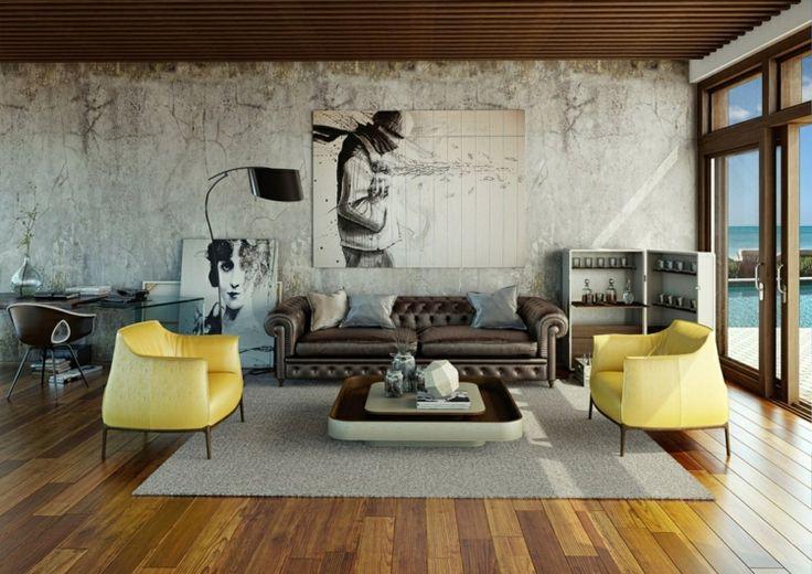 betonwand selber machen tapeten-gebrauchsspuren-bilder-ledersofa-sessel-gelb-teppich-holzlamellen-decke-couchtisch