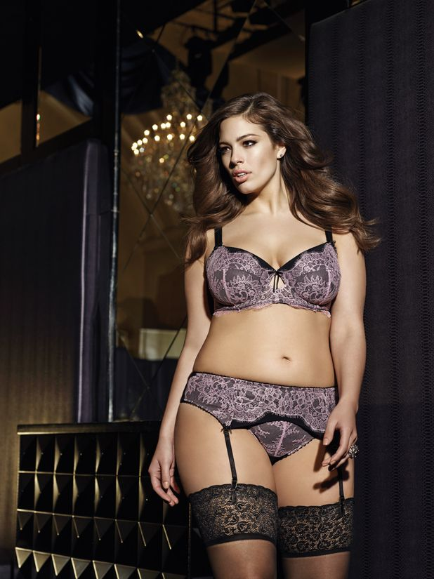 Plus size supermodel Ashley Graham Wearing a new bra and panty set from the Ashley Graham Lingerie Collection. Available at Addition Elle, your plus size desination. #plussize