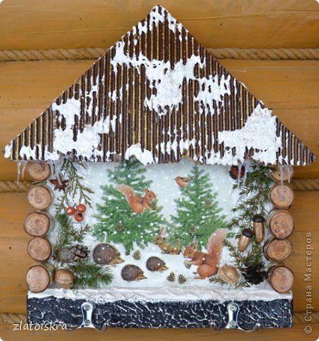 Декор предметов Поделка изделие Новый год Декупаж Коллаж Ключницы панно и колодец Материал природный фото 6