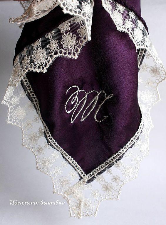 """Шелковый платочек  """"Т"""" баклажановый цвет. Handmade."""