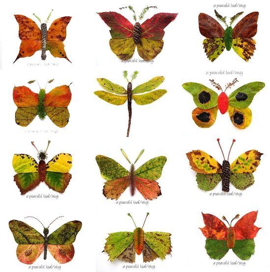 80 IDEI DE COLAJE DIN FRUNZE USCATE: animale, insecte, oameni