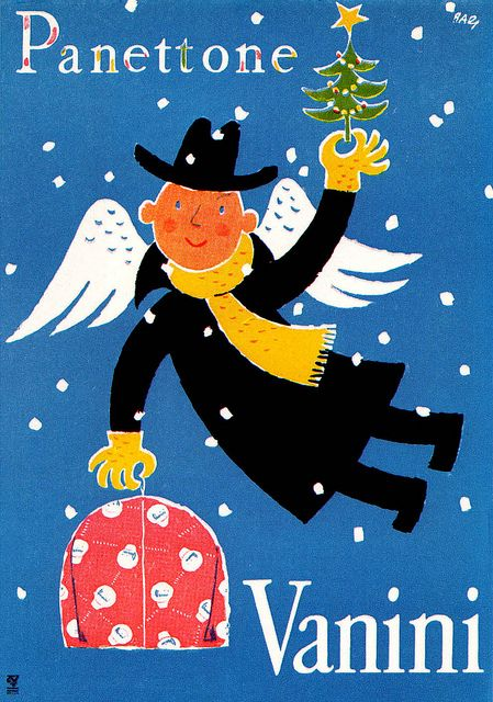 Franco Barberis Illustration    Christmas poster for panettone cake by Vanini. From Graphis Annual 54/55.    via sandiv999