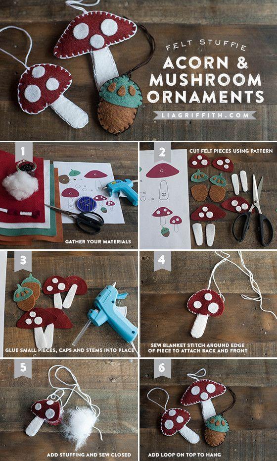Make Felt Mushrooms and Acorn Gift Toppers/ Ornaments.  Felt_Acorn_Mushroom_Tutorial