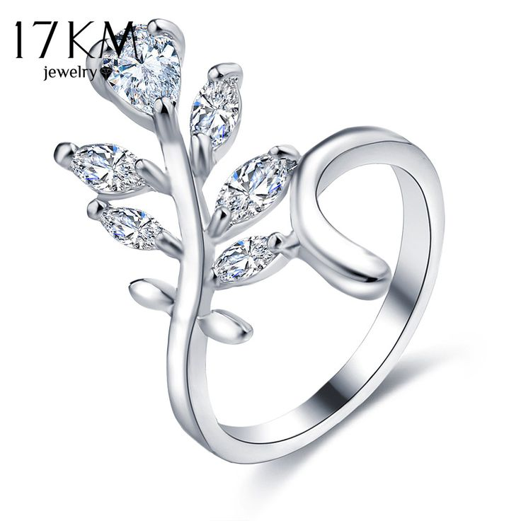 17KM Fashion Gold Color Cubic Zircon Flower Wedding Engagement Rings For Women Jewelry Female Crystal Ring Bijoux Love Gift
