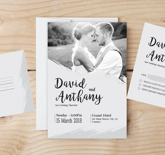 Wedding Invitation Template by Designsbird on @creativemarket   #Download here: https://creativemarket.com/Designsbird/1578083-Wedding-Invitation-Template?published