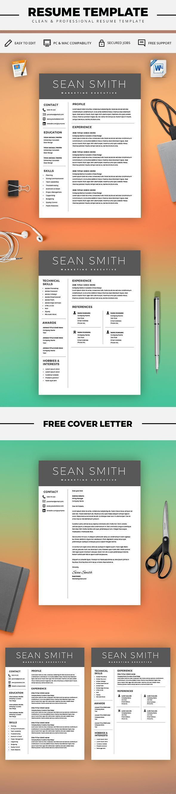 Curriculum Vitae Template - Professional Resume Template + Cover Letter - Microsoft Word Mac / PC - Resume Templates - Instant Download