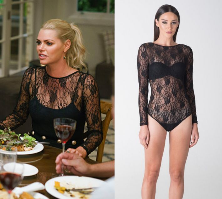 Sophie Monk wears this black lace long sleeved top in this episode of The Bachelorette Australia on Thursday the 19th of October 2017. It is the Santina Nicole Sienna Lace Bodysuit.