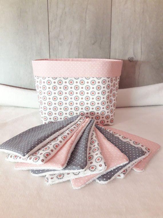 Ensemble pochon personnalisable et 9 lingettes lavables en harmonie de rose et gris