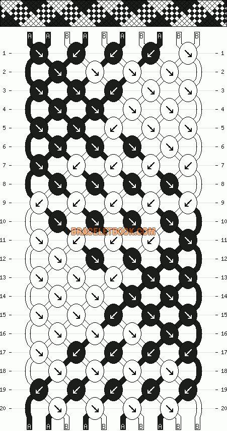 Normal Friendship Bracelet Pattern #6462 - BraceletBook.com