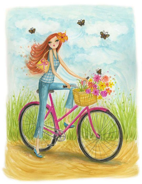 bicycle,butterflies,colors