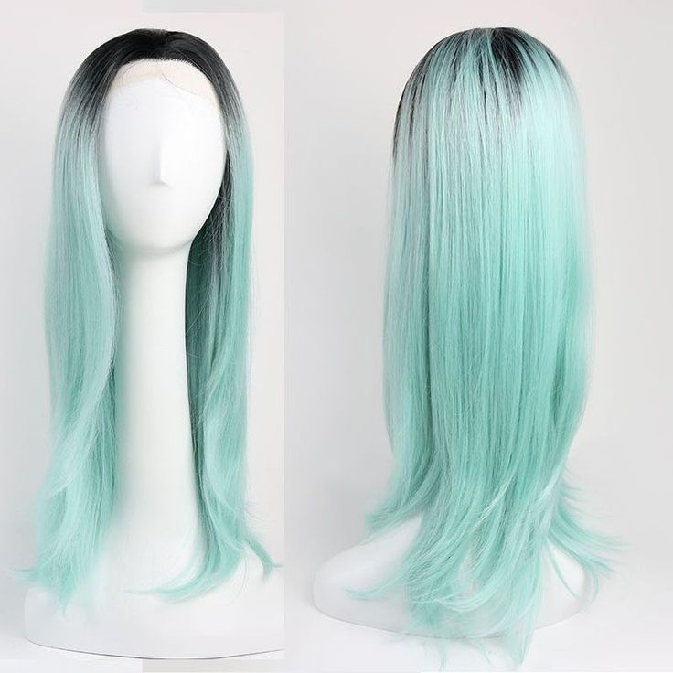 """24""""60Cm  Long Straight Wig Synthetic Hair Ombre Black And Mint Green Wigs #Zw59"""