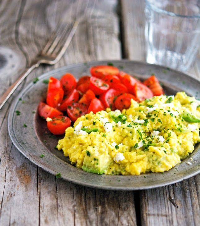 Fluffy Scrambled Eggs with Avocado and Feta.