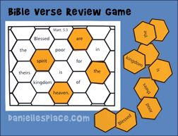 Beehive Bible verse review game for Beatitude Sunday School lesson from www.daniellesplace.com