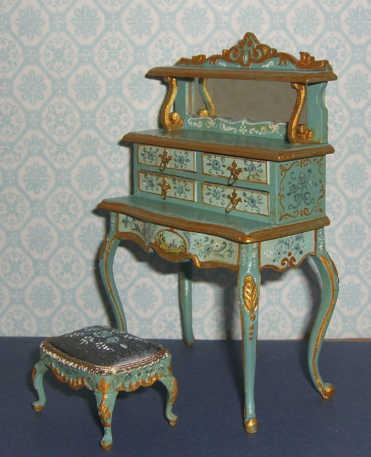 It is signed and dated - Leslie Lassige (that's me!). on the bottom. Dollhouse Miniature Dressing Table & Footstool. The latest, a Bespaq ladies dressing table and footstool I bought unfinished. I've hand painted it in a french teal and seafoam, with lots of gold detailing, and florals and flourishes. | eBay!