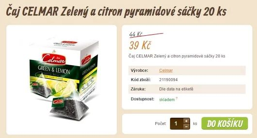 Čaj CELMAR Zelený a citron pyramidové sáčky 20 ks  >>> https://www.vito-grande.cz/p/caj-celmar-zeleny-a-citron-pyramidove-sacky-20-ks/