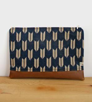 Ikat Arrow Fabric & Vegan Leather Zipper Clutch
