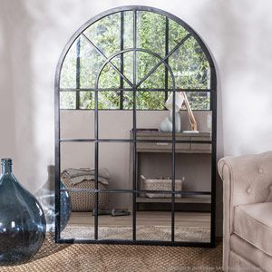 Miroir atelier XL en métal forme arcade decoclico Factory -noir