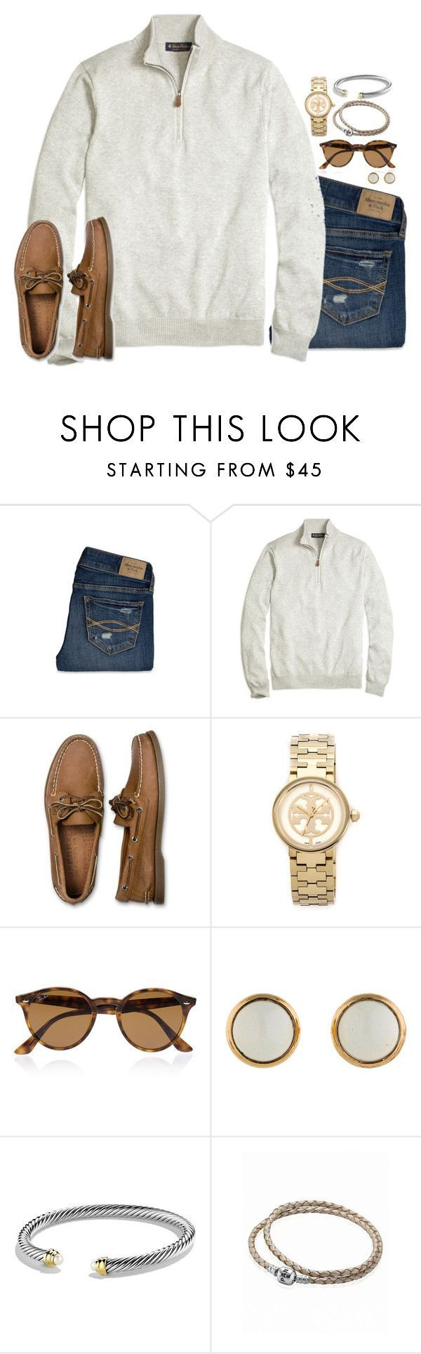 """""""I must've called a thousand times, to tell you I'm sorry for everything that I've done"""" by preppy-classy ❤ liked on Polyvore featuring Abercrombie & Fitch, Brooks Brothers, Sperry Top-Sider, Tory Burch, Ray-Ban, Hermès, David Yurman and Pandora"""