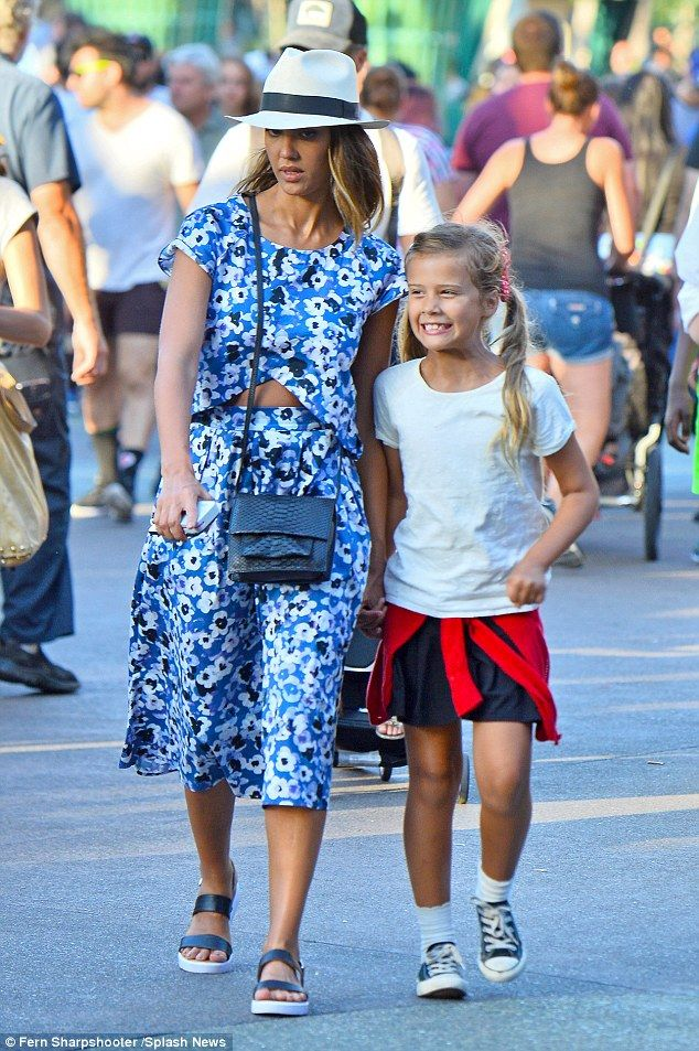 Happy day: Jessica Alba, seen here with daughter Honor, took her family to Disneyland in Anaheim, California, on Tuesday