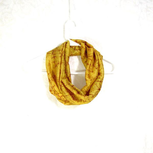 Yellow Silk Scarf Sari Silk Infinity Scarf Womens Scarf Fall Scarf... ($18) ❤ liked on Polyvore featuring accessories, scarves, circle scarf, silk infinity scarf, yellow infinity scarf, lightweight scarves and tube scarves