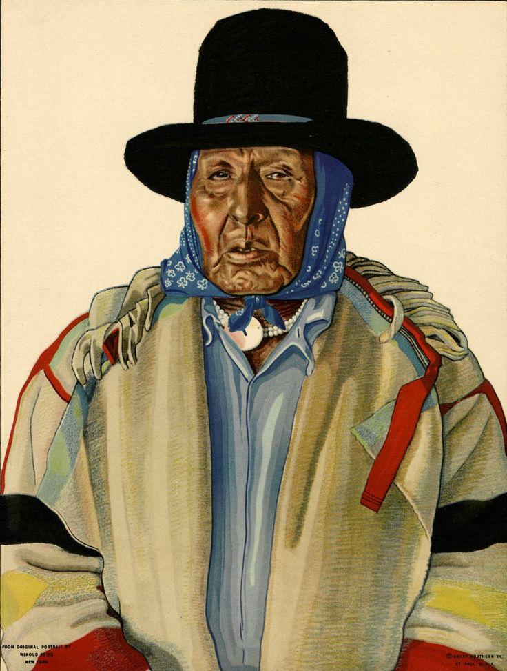 1930s Great Northern Railroad Calendar Top Winold Reiss Native American Portrait | eBay